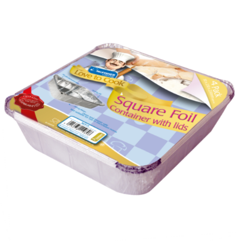 Square Extra Large Foil Trays & Lids - Kingfisher Catering Love To Cook (Pack of 4)